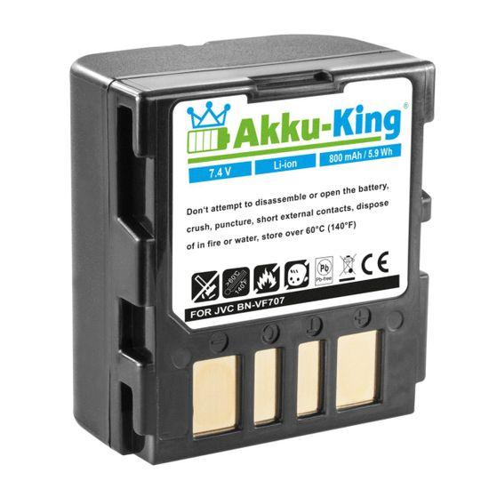 Akku kompatibel mit JVC GR-D240, GZ-MG30E, GZ-MG77E - ersetzt BN-VF707, BN-VF714, BN-VF733, LY34647-002B - Li-Ion - 800mAh