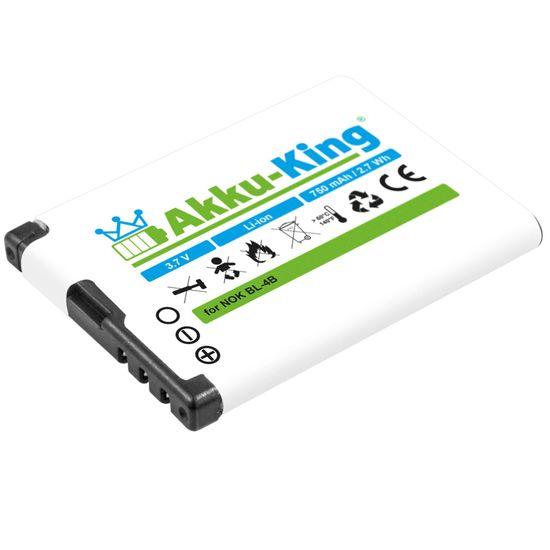 Akku kompatibel mit Nokia BL-4B, BL-4BA - Li-Ion 750mAh - für 2630, 2760, 5000, 6111, 7370, 7373, 7500, N76