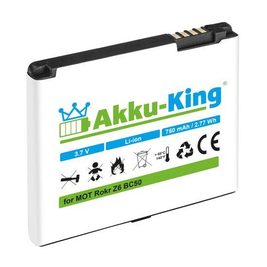 Akku kompatibel mit Motorola Krzr K1, Rizr Z3, Rokr Z6, SLVR L2, L6, L7, C261, Aura - ersetzt BC50, CFNN7007