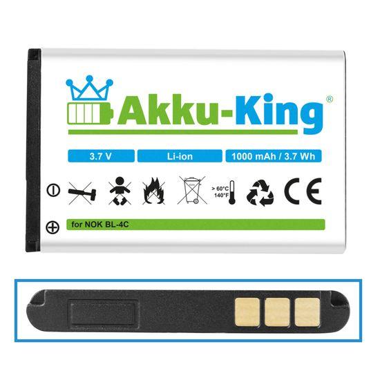 Akku kompatibel mit Nokia BL-4C - Li-Ion 1000mAh - für 6088, 6100, 6101, 6102i, 6103, 6125, 6126, 6131, 6133, 6136, 6170