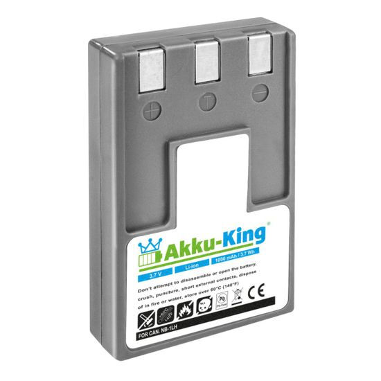Akku-King Akku ersetzt Canon NB-1LH, NB-1L, ER-D100 Li-Ion 1000mAh - für Digital IXUS 200a, 300, PowerShot S400, S410, Minolta DIMAGE G500