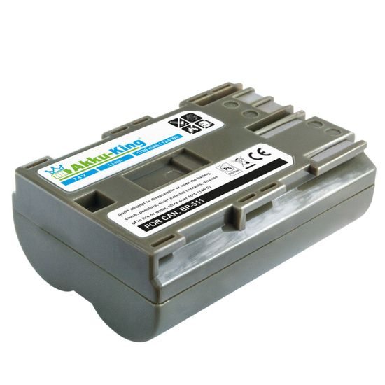 Akku-King Akku kompatibel mit Canon BP-511, 511A, 512 Li-Ion 1700mAh - für PowerShot G1, G2, DM-MV100X, EOS 10D, EOS 50D, Optura 20