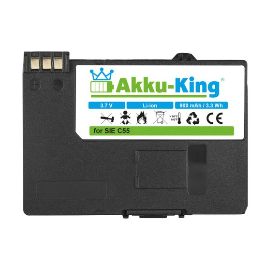 Akku kompatibel mit Siemens EBA-510 - Li-Ion 900mAh - für C55, A51, A52, A55, A57, S55, SL55, Sinus 701, Gigaset SL37H,  V30145-K1310-X250
